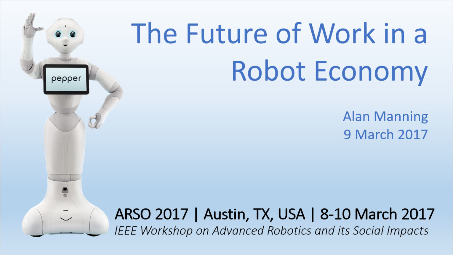 The Future of Work on a Robot Economy